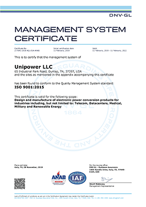 unipower iso9001 certificate