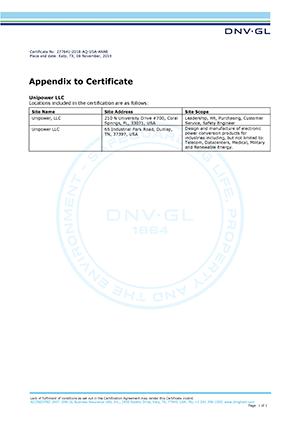 unipower iso9001 certificate